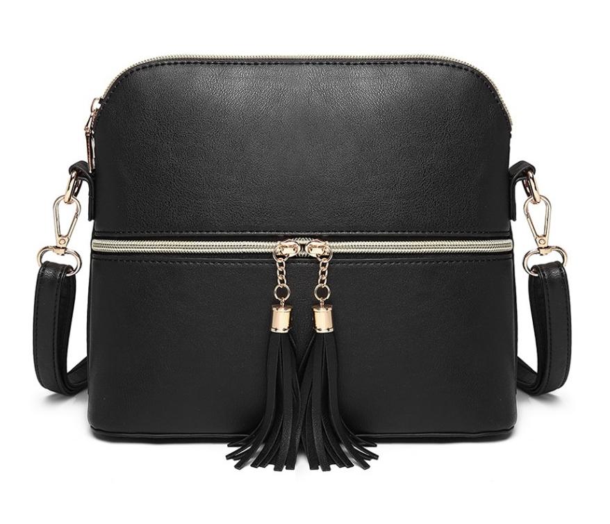 Malá černá crossbody kabelka se zlatým zipem MISS LULU
