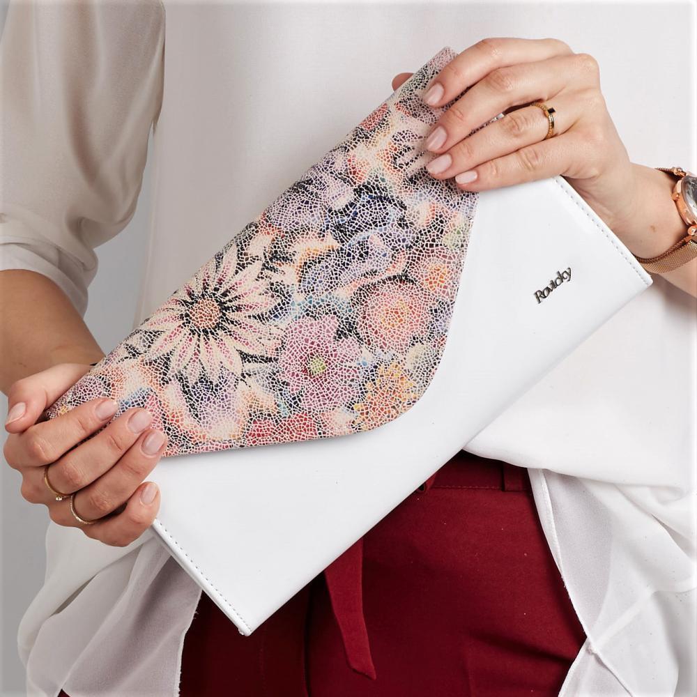 Bílé dámské psaníčko v motivu květů W25 ROVICKY