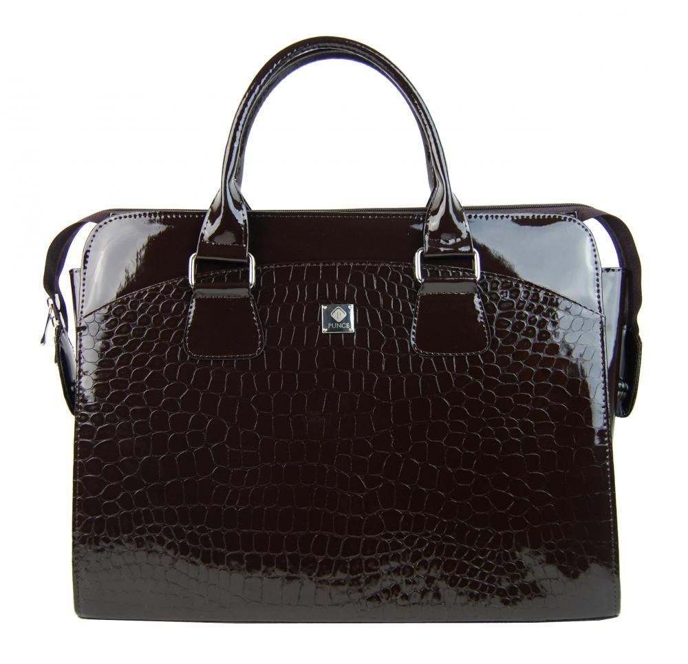 PUNCE LC-01 tmavě hnědá dámská kabelka pro notebook do 15.6 palce