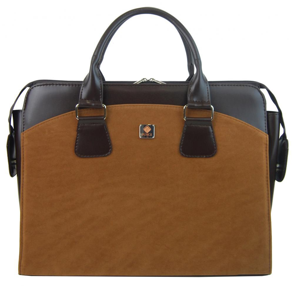 PUNCE LC-01 skořicová hnědá dámská kabelka pro notebook do 15.6 palce