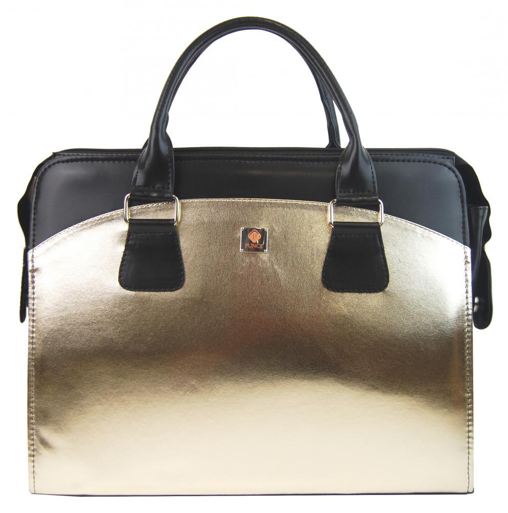 PUNCE LC-01 Zlatá dámská kabelka pro notebook do 15.6 palce